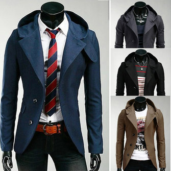 Mens Slim Single-breasted Jacket Casual Coat